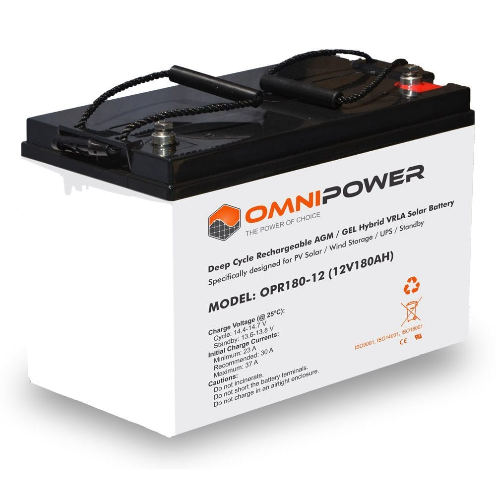 OmniPower 12V 180Ah OPR Deep Cycle Rechargeable AGM / GEL Hybrid VRLA Battery