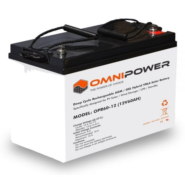 OmniPower 12V 60Ah OPR Deep Cycle Rechargeable AGM / GEL Hybrid VRLA Battery