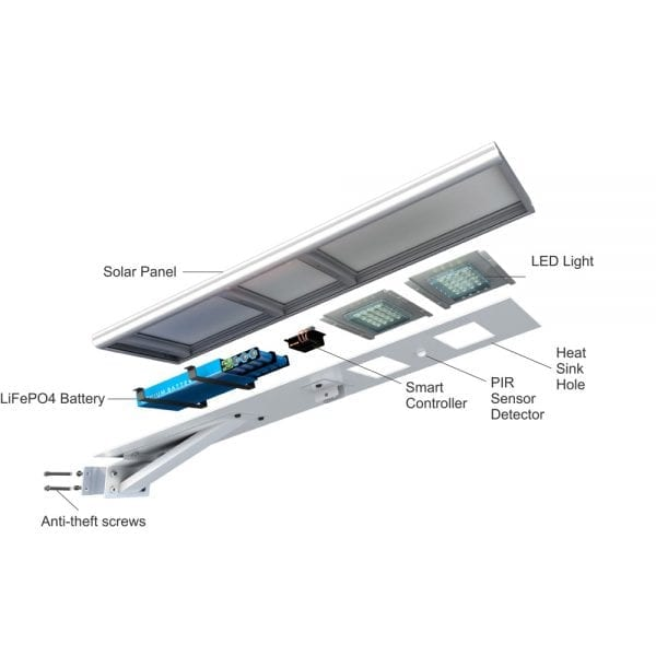 All In One Integrated Solar Street Light - 100W